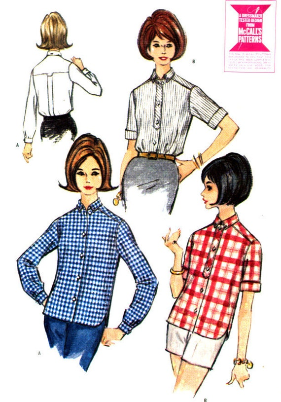Vintage 60s Button Up Casual Blouse Pattern- Bust 34- McCall 7425