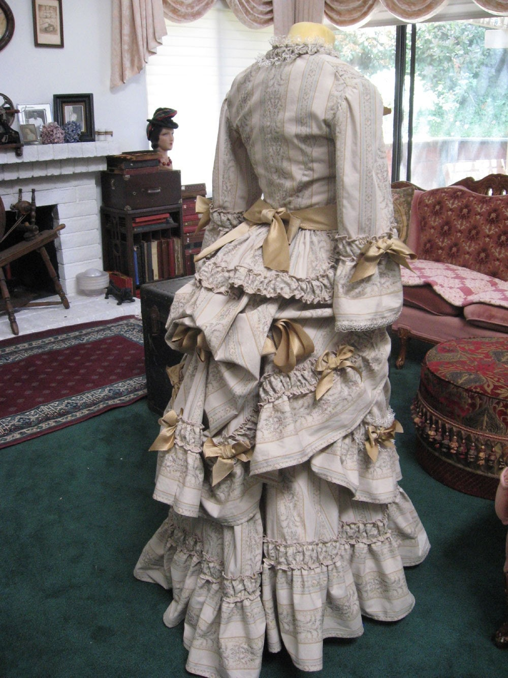 Sale victorian floral bustle gown reproduction steampunk for Victorian bustle wedding dress