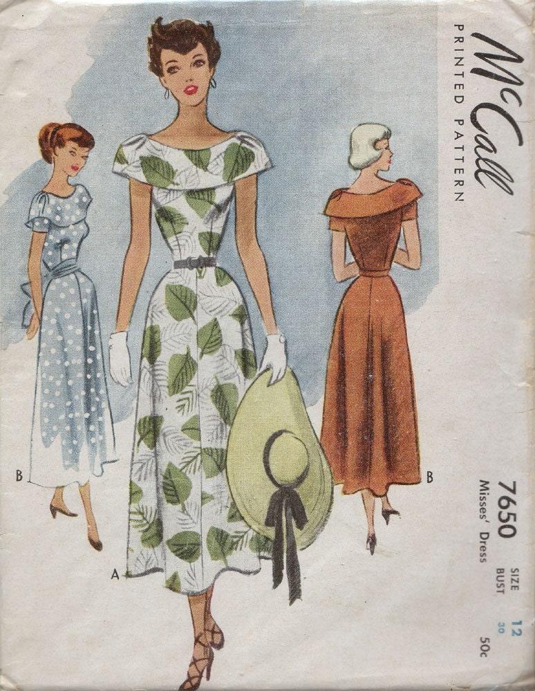 Vintage 1940s Garden Party Dress Pattern Size 12