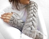 GREY cabled  fingerless gloves