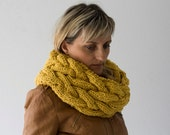 Infinity scarf, cowl in Mustard Yellow