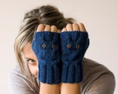 Blue owl fingerless gloves, mittens - Black Friday sale, Cyber Monday sale
