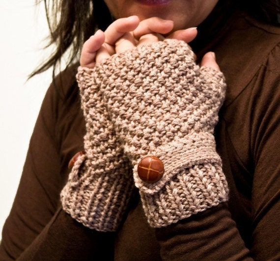 BEIGE  fingerless gloves with a strap on