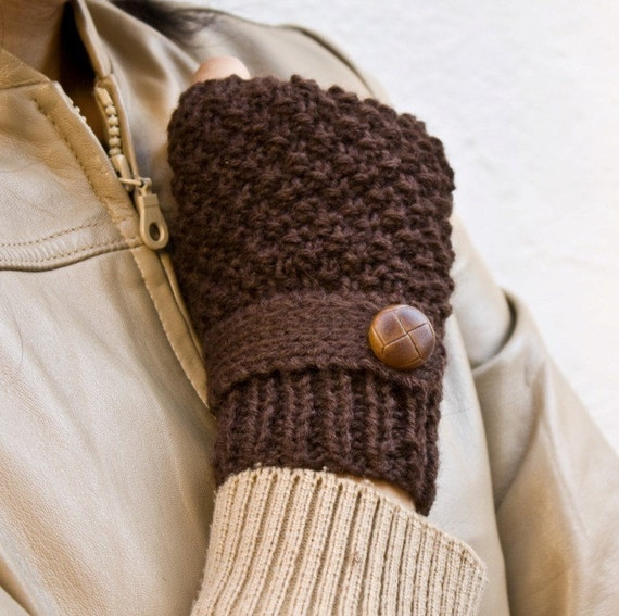 Brown knit fingerless gloves ,mittens with a strap