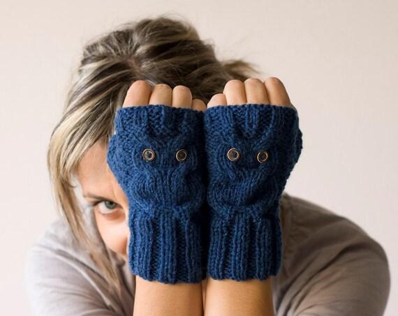 Blue owl fingerless gloves, mittens - Black Friday sale, Cyber Monday sale