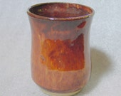 Amber and Brown Wheel Thrown Pottery Tumbler, Cup or Juice Glass