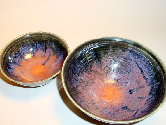 Ceramics/Pottery/ Bowls Two (2) Matching Bowls  - Pink Blue Green and Black