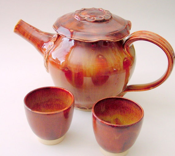 Amber Tea Set - Wheel Thrown Teapot and Two Cups