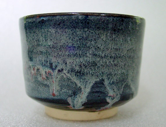 Wheel Thrown Pottery Tea Bowl - Black with Blue and Magenta Highlights