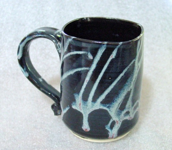 Wheel Thrown Pottery Mug in Black with Squirts of White, Blue and Rose and a Square Top