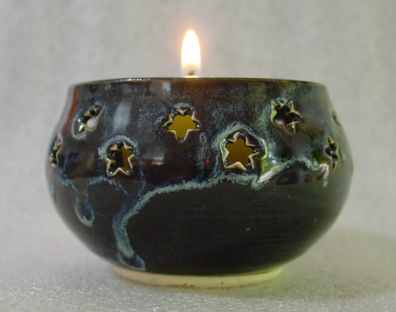 Ceramic Votive Candle Holder Luminary with Stars