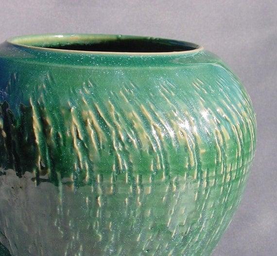 Teal Green Textured Vase