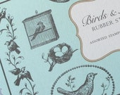 BIRDS and NESTS - Cavallini  Rubber Stamps  - 11 pc. Wood Handled Stamps  in Tin Box Set