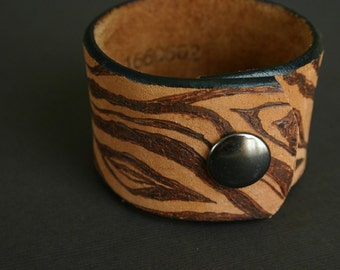 For Her or Him, Custom Wood Grain Cuff Bracelet, Recycled Leather Belt, Upcycled, Hand burned