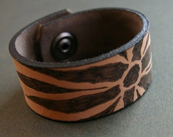 Abstract Floral Leather Cuff Bracelet, Branded, Upcycled Recycled Leather Belt, Scarf Cuff