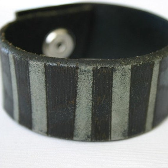 Striped Gray, Black Leather Cuff Bracelet, Sanded, Branded, Hand burned Recycled Belt