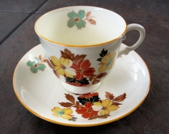 Plant China Tea Cup & Saucer Tuscan Colors Made in England Pat. No 771590