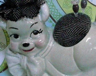 Mid Century Dog Figurine Pincushion Dapper Dog in Wool Herringbone by Practical Elegance