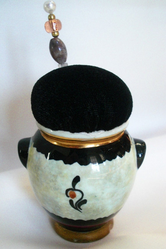 Vintage Delft Signed Hand Painted Repurposed Pincushion with Black Velvet by Practical Elegance