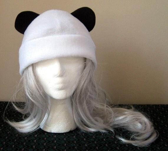 Cosplay Panda Ears Hat - Black and White, no base stripe
