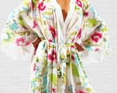 Italian Silk Chiffon  Hibiscus Floral  Kimono Style Robe