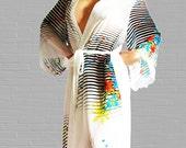 Italian Silk Chiffon Secret Eden Kimono Style Robe available in size Small