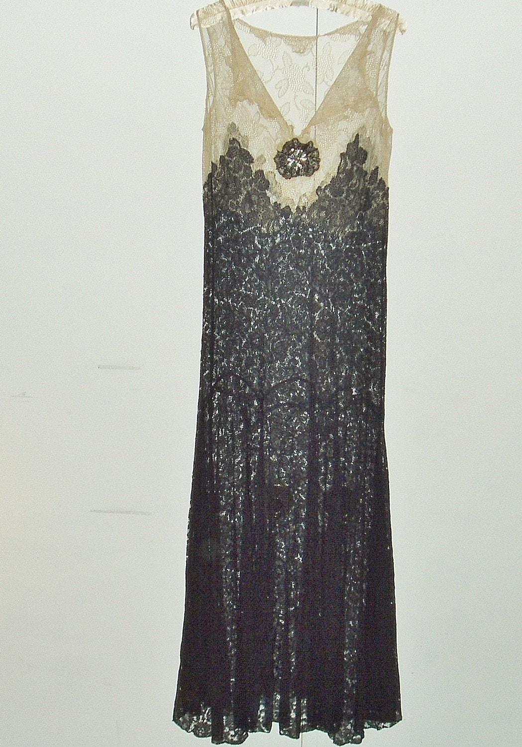 1920s 30s Antique Black Drop Waist Lace Dress By