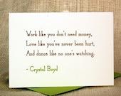 Letterpress Card - Notable Quote - Crystal Boyd - Unit I Press - www.unitipress.com