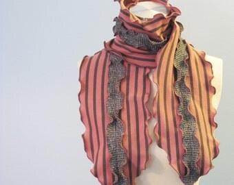 SALE Fisherman's Daughter organic seaweed ruffle scarf/ lobster pirate stripe