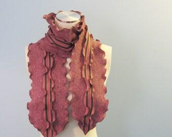 SALE Fisherman's Daughter organic double ruffle seaweed wrap scarf\/ lobster pirate stripe