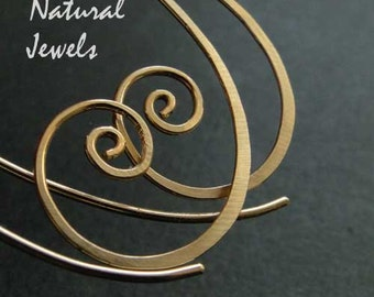 Big Golden Spirals - 14K Goldfilled Earrings by Natural Jewels at Etsy