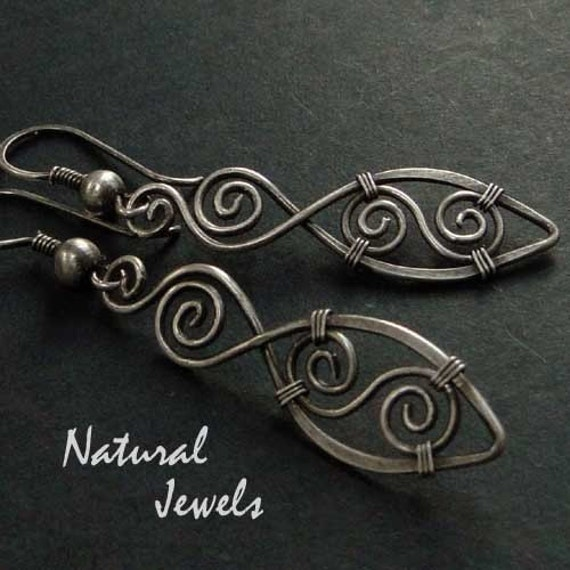 Spiral Feathers - 925 Sterling Silver Earrings