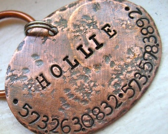 Seeking personalized gifts for dogs and dog lovers? Our pet id tags are made in Bozeman, Montana. Rustic Copper Oval Tag