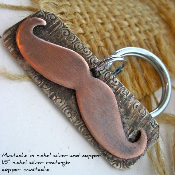 Mustache Pet Tag in Nickel and Copper