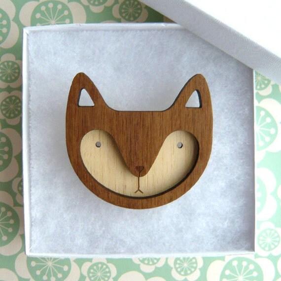 Walnut Wooden Fox Brooch