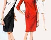 Vintage 60s Butterick 3923 MOD COLOR BLOCK Shift Dress Sewing Pattern Size 12 (32-25-34)