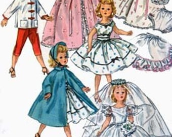 Vintage 50s 18 inch Doll Clothes Bridal Gown, Coat, Hat, Bra and panties  Sewing Pattern Revlon/ Cissy Doll Clothes Simplicity 1808 UNCUT