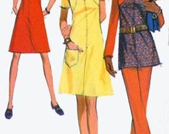 Vintage 1970s Dress or Tunic Top and Pants Sewing pattern McCalls 2640 70s RETRO Sewing Pattern Size 14 Hip 36 UNCUT