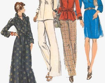 1970s Pullover Dress Top Pants Butterick 3393 Vintage 70s American Hustle Sewing Pattern Size 10 Bust 32.5 UNC