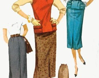 Vintage 1950s Slim Midi Skirt and Jerkin Sewing Pattern Simplicity 1262 ROCKABILLY 50s Sewing Pattern Size 16 Bust 34