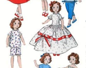 Vintage 1950s 8 inch Doll Wardrobe for Ginny Madame Bra, Slip, Nautical Dress, Movie Star Dress, Swing Coat Butterick 8799 Sewing Pattern