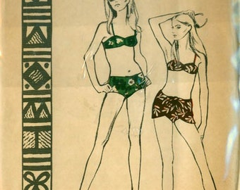 1960s  Hawaiian Bikini with Sarong Wrap Polynesian Pattern 153 Vintage 60s Womens Sewing Pattern Size 12 Bust 32 UNCUT