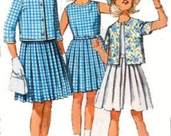 1950s Girls Dress with Pleated Skirt and Short Jacket Skirt Simplicity 4917 Vintage 50s Sewing Pattern Size 10 UNCUT