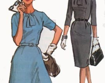 1960s MAD MEN Dress w/ Unique Neckline Slim or Flared Skirt McCalls 7017 Vintage 60s Sewing Pattern Plus Size 22.5 Bust 43