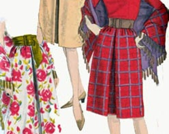 Vintage 1960s Skirt and Stole Sewing Pattern Vogue 5612 MOD 60s Sewing Pattern Waist 25 Hip 34