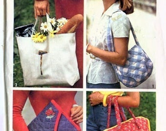 1970s Clutch, Shoulder and Tote BAGS Simplicity 7004 70s Vintage Sewing Pattern One Size
