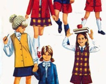 1960s Schoolgirl Jacket, Skirt and Pantskirt Simplicity 8376 Vintage 60s MOD Sewing Pattern Girls Size 6 UNCUT