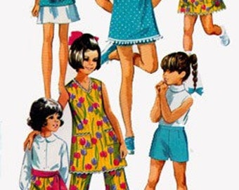 1960s Girls A Line Dress or Sleeveless Tunic Top with Shorts, Shirt and Pants Simplicity 8225 Vintage 60s Mod Sewing Pattern Size 6