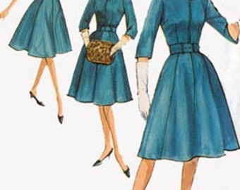 1950s Slenderette Dress with Hat and Muff Simplicity 4672 Vintage 50s ROCKABILLY Sewing Pattern Size 16.5 Bust 37 UNCUT