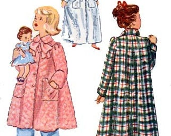 Vintage 1940s Girls Flared back Housecoat Sewing Pattern Simplicity 2601 in Two Lengths Vintage 40s SWING ERRA Sewing Pattern Size 8